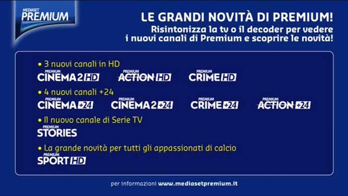 Nuovi canali Mediaset Premium