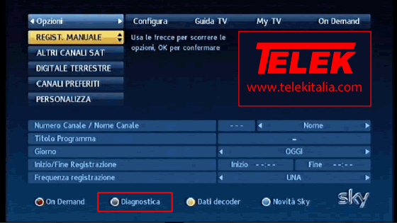 Diagnostica su decoder My SKY HD