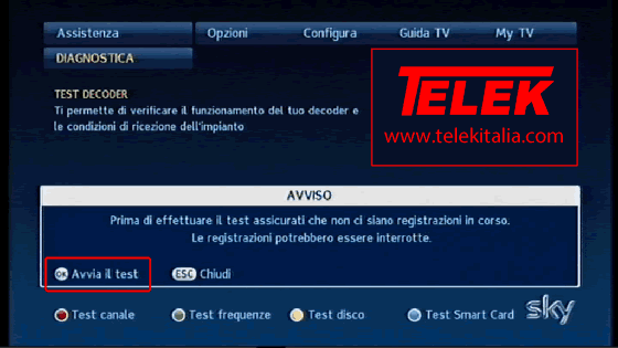Avvia Diagnostica su decoder My Sky HD