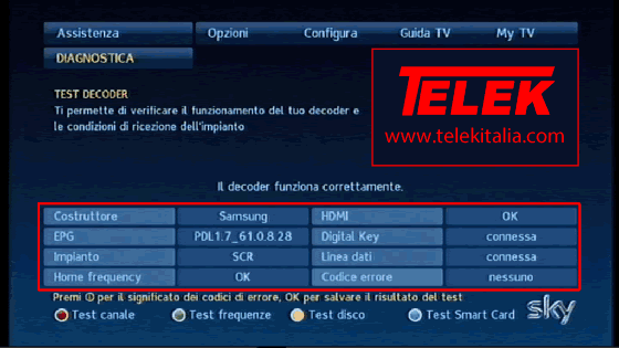 Risultato diagnostica su decoder My SKY HD
