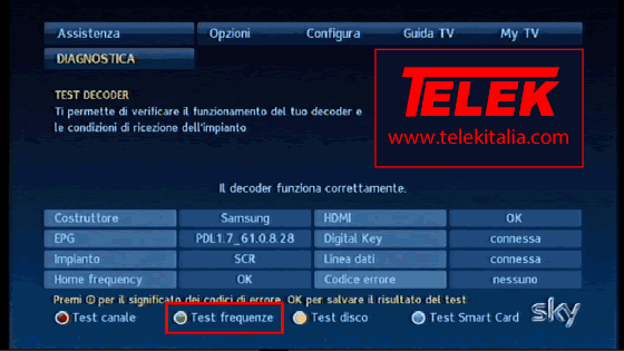 Test Frequenze su decoder My SKY HD