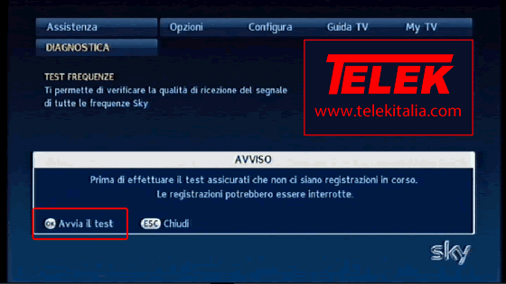 Avvia test frequenze su decoder My SKY HD