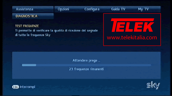 Attendere completamento test frequenze su decoder My SKY HD