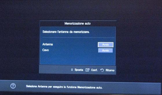 Samsung TV: Selezionare antenna