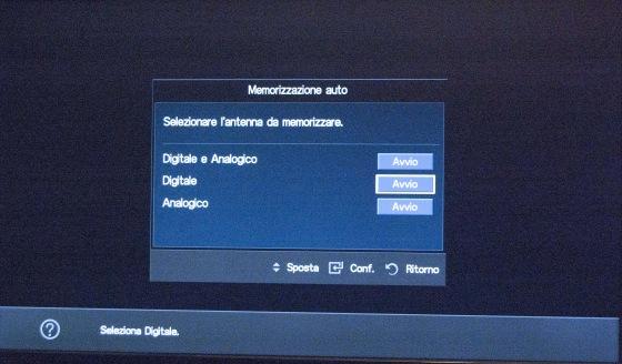 Samsung TV: Selezionare Digitale