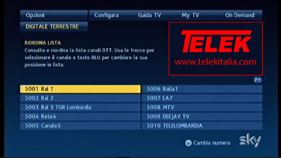 Sky Digital Key - Lista canali TV e Radio digitale terrestre trovati