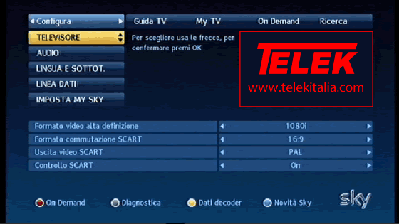 Collegamento My Sky HD ad Internet - Menu Configura