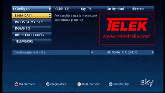 Collegamento My Sky HD ad Internet - Linea Dati