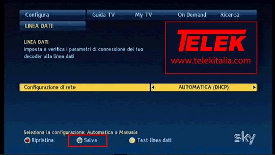 Collegamento My Sky HD ad Internet - Configurazione Rete Automatica