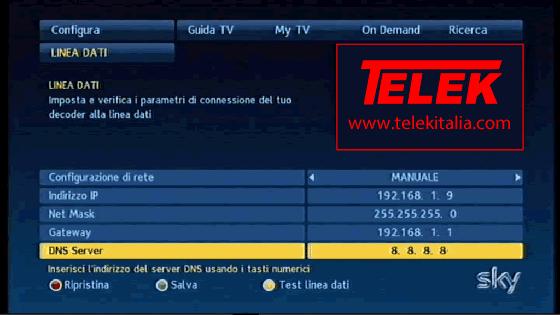 Collegamento My Sky HD ad Internet - Configurazione Manuale