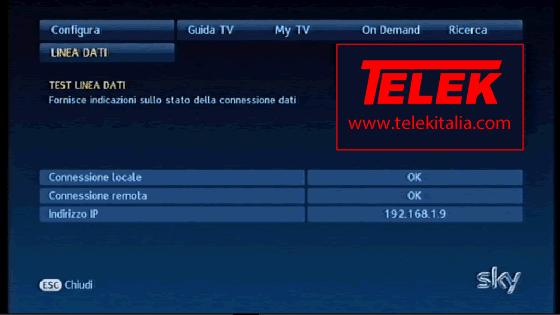 Collegamento My Sky HD ad Internet - Letture test linea dati