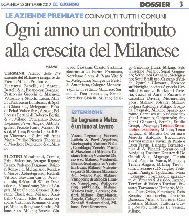 Articolo de Il Giorno - Milano Produttiva 2012