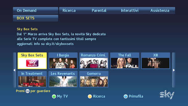 Interfaccia Sky On Demand: Sky Box Sets