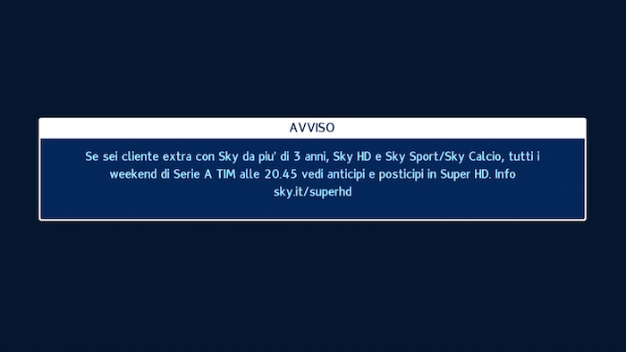 Attivato Sky Sport 1 Super HD